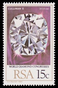 Stamp depicting the Cullinan II- Lesser Star of Africa Diamond http://mineralstamps.com/images/diamond_cullinan_2_south_africa_1980_t.jpg
