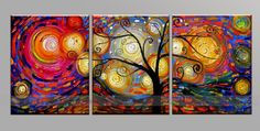 Mixed color Tree of life painting on three panels, Gallery Oil Painting Ready To Hang Art