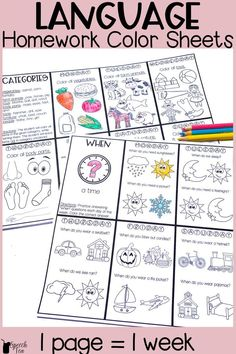 Looking for FUN carryover in the home? Send these language homework color sheets home or do in therapy! Perfect for early language learners working on categories, WH questions, plurals, irregular plurals, verbs, nouns, yes/no questions, object function and more! Perfect for speech therapy, special education, preschool, and regular education classrooms. Homework sheets that last an entire week! Click for more info.