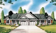 6 bedroom duplex w/laundry: Country Traditional Multi-Family Plan 24244 Elevation House Plans And More, Family House Plans, Country House Plans, Duplex Floor Plans, House Floor Plans, Home Design Plans, Plan Design, Duplex House Design, Monster House Plans