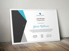 Buy Certificate by CreativeRacer on GraphicRiver. A Great Creative Certificate Template for Creative Person. Features: Easy to Edit CMYK Color 300 DPI High Resolution. Free Portfolio Template, Certificate Of Appreciation, Certificate Templates, Illustration Art, Creative, Layout, Design, Page Layout