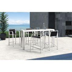 Modern Outdoor Aluminum 5-Piece Bar Set – Black & White