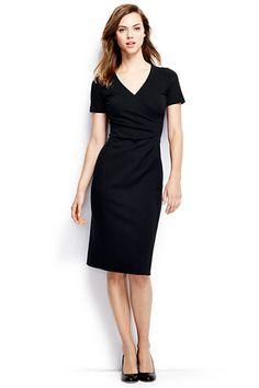 Women's Short Sleeve Ponté Surplice Dress