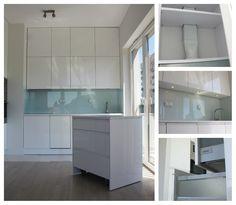 Kuchnia w wysokim połysku w Warszawie z mobilną wyspą. High gloss kitchen made in Warsaw with moveable island