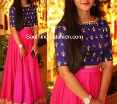 Long Skirt with Mirror Embroidered Crop Top – South India Fashion Long Dress Design, Stylish Dress Designs, Designs For Dresses, Stylish Gown, Stylish Dresses, Kids Blouse Designs, Crop Top Designs, Long Skirt Top Designs, Indian Gowns Dresses
