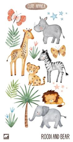 Hand painted with watercolors. Hand painted with watercolors. Pastel shades that are idea for nursery decor or safari themed parties – and all manner of fun craft projects. Jungle Animals, Cute Animals, Jungle Safari, Safari Theme Party, African Cichlids, African Animals, Elements Of Art, Nursery Art, Nursery Decor