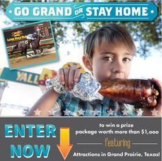 Enter now to WIN a prize package worth over $1000, featuring attractions in Grand Prairie, Texas! Thoroughbred horse racing, Golf, Outlet shopping, festivals, cool museums are just a few of the things that make Grand Prairie a favorite vacation destination. Drawing on July 31. ** Grand Prize Package Includes: ** Lodging / Golf vouchers / Unlimited rides at Traders Village / Theater tix / Horseracing admission / much more... http://www.tourtexas.com/page.cfm?p=sweeps