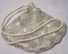 ♪ Vintage fan purse covered with glass silver colored beads.