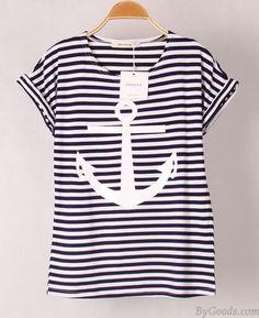 Mode Anker Tragen Lässige Kurzarm Striped T-shirt only $14.99 in ByGoods.com!