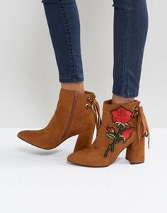 Boohoo Embroidered Heeled Ankle Boot