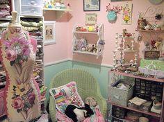 Corner of the sewing studio . . .vision of how my sewing studio should look--JM