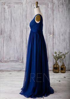 2016 Royal Blue Bridesmaid Dress Scoop Neck Chiffon by RenzRags