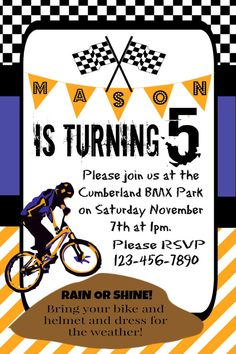 Check out this item in my Etsy shop https://www.etsy.com/ca/listing/253468191/boys-birthday-party-invitation-dirt-bike