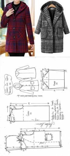 Casaco sobretudo com capuz Sewing Paterns, Dress Sewing Patterns, Doll Clothes Patterns, Sewing Patterns Free, Sewing Clothes, Clothing Patterns, Diy Clothes, Sewing Coat, Blazer Pattern