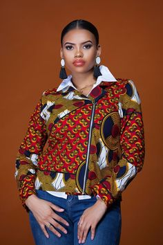 Shop Grass-fields African Print Fashion - African Print Esmee Biker Jacket is the ultimate fashion statement, sure to turn heads, no matter what the occasion. Short African Dresses, African Inspired Fashion, Latest African Fashion Dresses, African Print Fashion, African Tops, African Wear, African Attire, African Women, Blazers