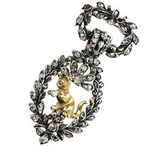 Diamond Cat Pendant Brooch ca. 1880; $5,850 - for the Crazy Cat Lady Who Has Everything