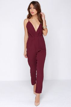 Lovers + Friends My Way Burgundy Jumpsuit on shopstyle.com