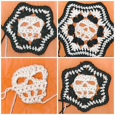 Pattern includes instructions for a off set, or straight up skull and 6 inch or 8 inch block. Pictures of almost every row. Written in US c...