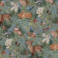 Woodlands Dusty Blue – Jimmy Cricket Boat Wallpaper, Nursery Wallpaper, Cricket Wallpapers, Fox Squirrel, How To Install Wallpaper, Cartoon Drawings Of Animals, Lilac Grey, Colorful Drawings, Dusty Blue