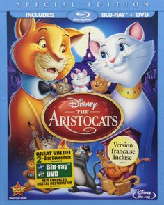 The Aristocats (Two-Disc Blu-ray/DVD Special Edition in Blu-ray Packaging) by Walt Disney Video Family Movies, Top Movies, Disney Movies, Disney Blu Ray, Walt Disney, Disney Pixar, Paul Winchell, Tim Hudson, Scatman Crothers