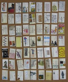 Illustrations on library cards by Laura Wennstrom. Was exhibited at Center for Book Arts in NYC - awesome!!