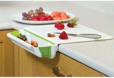 Tábua de Cortar Alimentos de Plástico e com Compartimento Dobrável