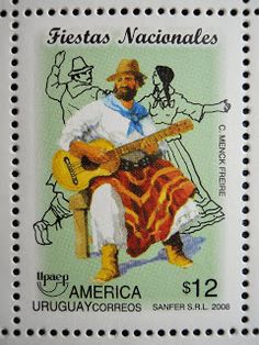 Stamps, covers and postcards of traditional/folk costumes: Stamps / Dances - Uruguay / Urugvajus