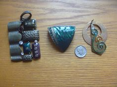 vintage pendants 3 green and copper tone by CraftyGreenMagpie