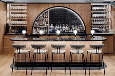 The luxury of Palm Springs arrives to juxtapose Venice Beach's sun-drenched urban appeal as Toronto restaurant's contrasting couplet. - Casa La Palma Toronto, Cocktail and Wine Bar, and Restaurant Designed by Alexandra Hutchison Casa L - Bar Interior Design, Restaurant Interior Design, Cafe Interior, Cafe Design, Wine Bar Design, Cocktail Bar Interior, Back Bar Design, Cocktail Bar Design, Restaurant Interiors