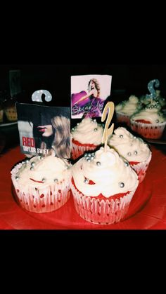 Homemade Taylor Swift cupcake for my friend's 22nd birthday 🎂  #Cupcake #talyorswift #birthday #birthdaycake #cupcakes #redvelvet #redfrosting #red #frosting #baking #cooking #cake #sweet #food #birthdayparty #homemade