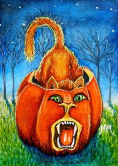 NFAC Original ACEO Cat PUMPKIN Halloween Jack O Lantern Kitten Painting Art EBSQ #Miniature