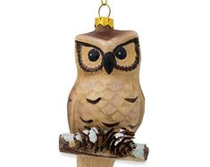 Buy Owl on Branch with Pine Cones Glass Christmas Ornament Inches. BestPysanky Online Gift Shop Offers Christmas Ornaments > Animals for Sale Online Gift Shop, Online Gifts, Owl Bird, Pet Birds, Owls For Sale, Large Framed Wall Art, Tulips In Vase, Renaissance Era, Wise Owl