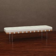 Andalucia Modern White Leather Bench Large 60-inch | Overstock.com Shopping - Great Deals on Benches