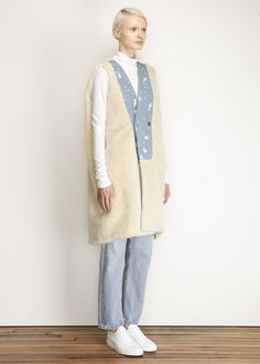 MM6 Maison Martin Margiela Sleeveless Blazer Tunic (Denim Blue With Teddy)