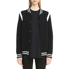Women's Givenchy Contrast Knit Trim Logo Bomber Jacket ($1,495) ❤ liked on Polyvore featuring outerwear, jackets, black, american jacket, bomber jacket, blouson jacket, givenchy jacket and sporty jacket