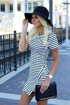 black and white striped dress | floppy hat | fashion blogger