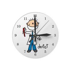 Dentist Stick Figure Wall Clock.