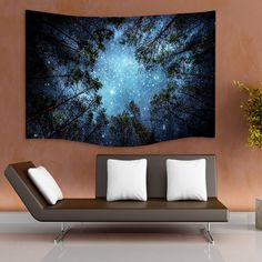 Celestial Galaxy Night Sky Full of Stars Wall Tapestry Sublime Forest Nature View Hanging Artistic Home Décor (90' 60') >>> Check out this great product. (This is an affiliate link) #Tapestries