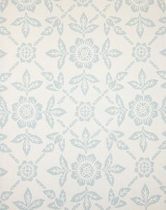 Pergola Wallpaper The background to this wallpaper has the look of linen, with a soft blue flower trellis print.