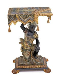 AN UNUSUAL PAINTED GILTWOOD BLACKAMOOR OCCASIONAL TABLE, 19TH CENTURY