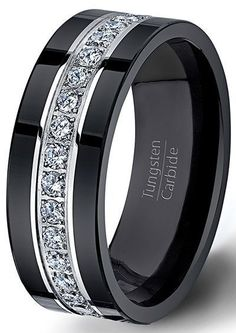 Black Tungsten Ring Fully Stacked With Brilliant Diamond Mens Wedding Band Comfort Fit