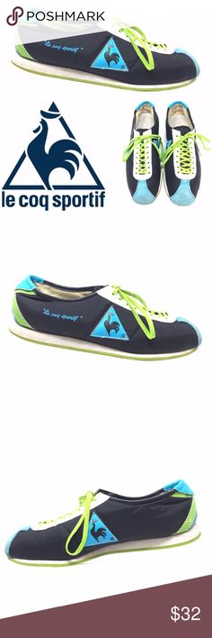 Le Coq Sportif Retro Sneakers Suede & Nylon Sz 9 Le Coq Sportif Retro Sneakers Suede & Nylon Sz 9 Spellout Black Blue Green Please see photos; some darkening of suede on toes and heels Item Number: 3490 Le Coq Sportif Shoes Sneakers