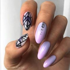 Acrylic Nail Design With Geometric Pattern #geometricpatternednails We have acrylic nail designs for short and long nails in a coffin, almond, square, and other nail shapes. Matte, glitter, designs with rhinestones. #naildesigns #acrylicnails #nailsart #glaminati #lifestyle