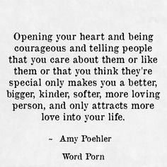 charming life pattern: amy poehler - quote - opening your heart and being...