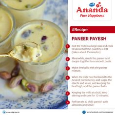 Our #recipe‬ of the day is... #pannerPayesh‬ : #Summer‬ is here! #Ananda‬ brings sweet & delicious drink to quench your thirst this summer. Do you like it? if yes then like & share today's #AnandaRecipe‬ .