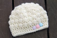 Baby Bobble Crochet Hat with Buttons by OKAMommy