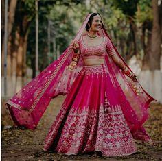 Stunning Anita Dongre Lehengas Spotted On Real Brides Pink Bridal Lehenga, Pink Lehenga, Indian Bridal Makeup, Indian Bridal Wear, Wedding Looks, Bridal Looks, Latest Bridal Lehenga Designs, Rajasthani Bride, Bridal Lehngas