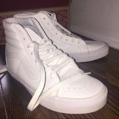 b889f900a71acd Vans Shoes - White Leather High-Top Vans Leather High Top Vans