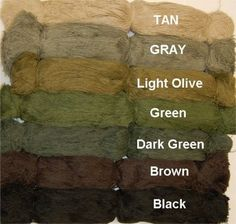 Synthetic thread Now available by the half Pound in TEN different colors, with the NEW Woodland blend and Mossy Blend. Woodland blend is the same as our all-season woodland colored suit, and the Mossy