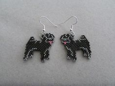 Black Pug  Earrings in Delica seed beads by DsBeadedCrochetedEtc on Etsy https://www.etsy.com/listing/226182457/black-pug-earrings-in-delica-seed-beads